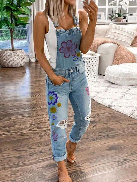 Women's Casual Denim Floral Printed Ripped Bib Pants