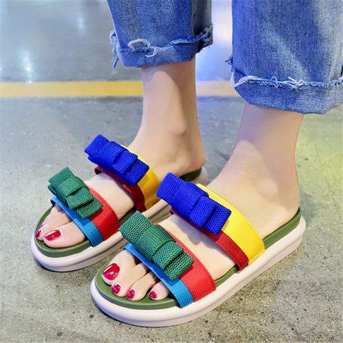 Double Bowknot Open Toe Slip On Summer Slippers