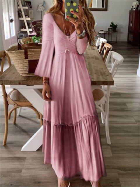 Vintage Printed V-neck Long Sleeve Maxi Dress