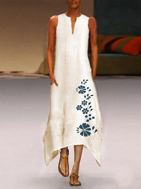 White Sleeveless Crew Neck Floral Linen Dresses