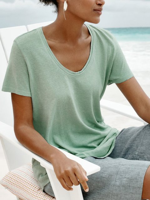 Round Neck Short Sleeve Solid Casual Shirts