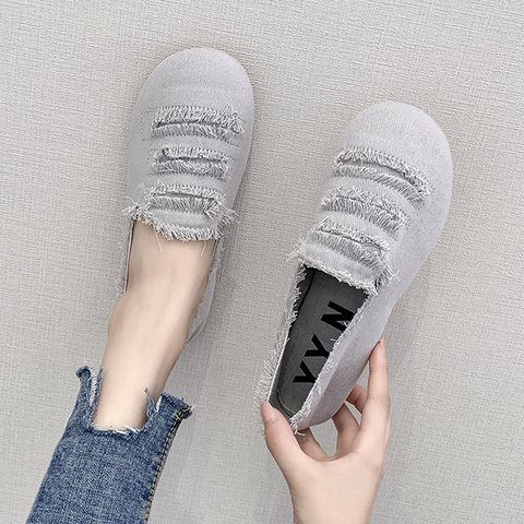 Round Toe Slide Flat Heel Casual Canvas Women Loafers
