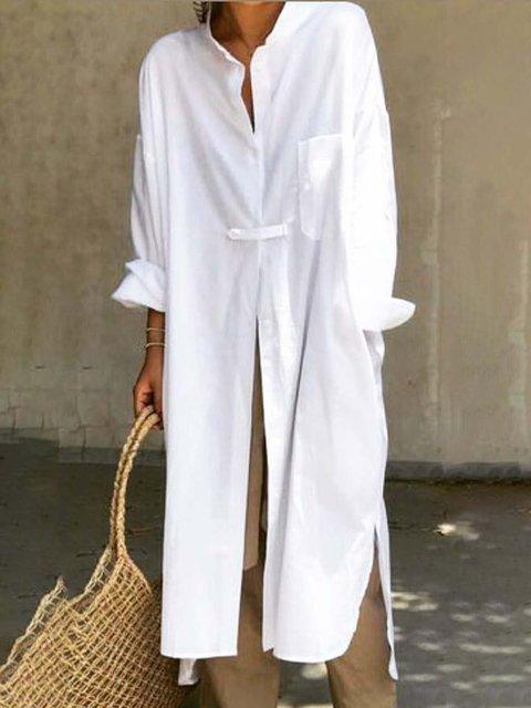 Shirt Collar Women Dresses Shift Outdoor Casual Linen Dresses