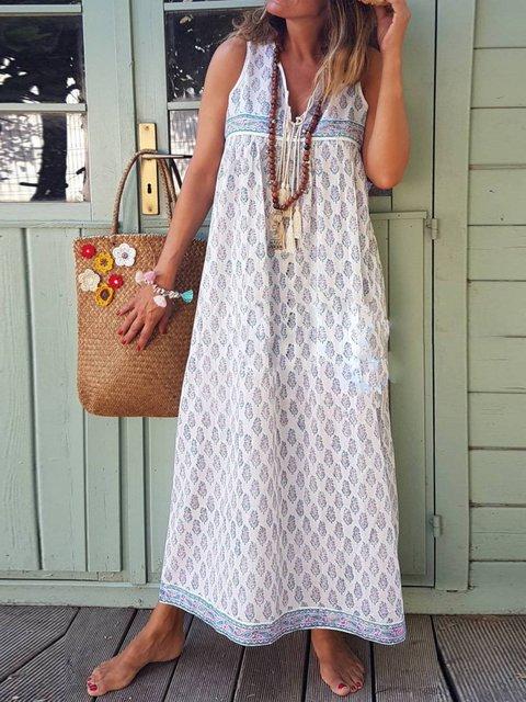 V Neck Geometric Sleeveless Dresses