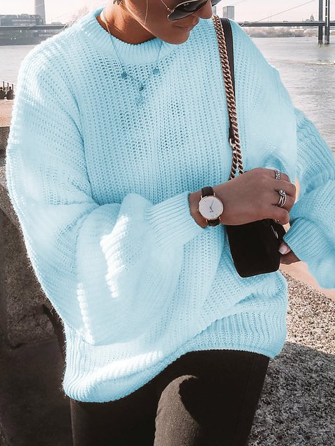 Solid Sweet Long Sleeve Round Neck Sweaters
