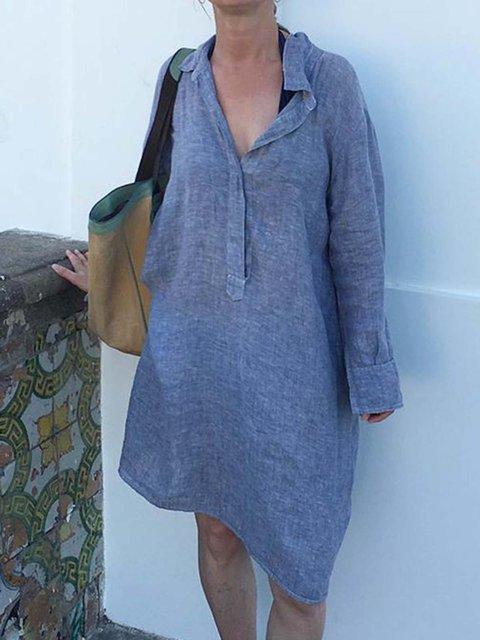 Shirt Collar Women Dresses Shift Casual Plain Dresses