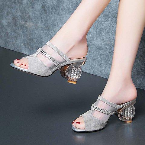 Date Genuine Leather Peep Toe Special Heel Slippers
