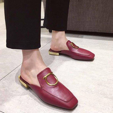 Stylish Leather Square Toe Slide Mules