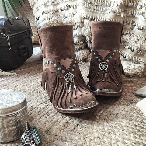Boho Style Rivet Tassel Back Zipper Chunky Heel Booties