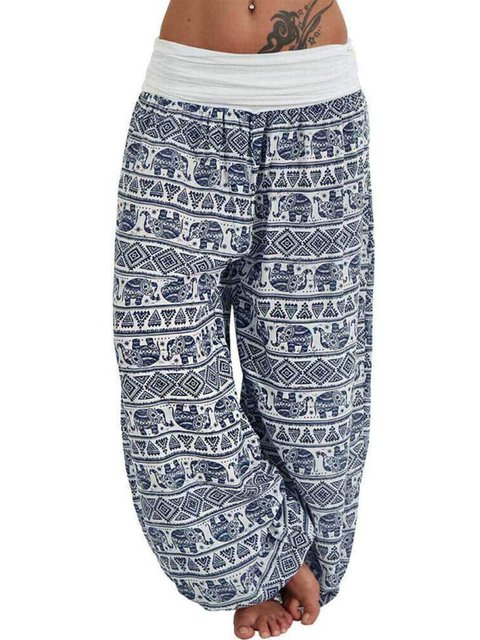 Plus Size Tribal Print Loose Fit Women Haren Pants