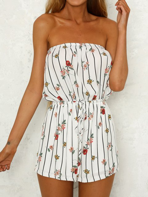 Printed Casual Acrylic Sleeveless Jumpsuits