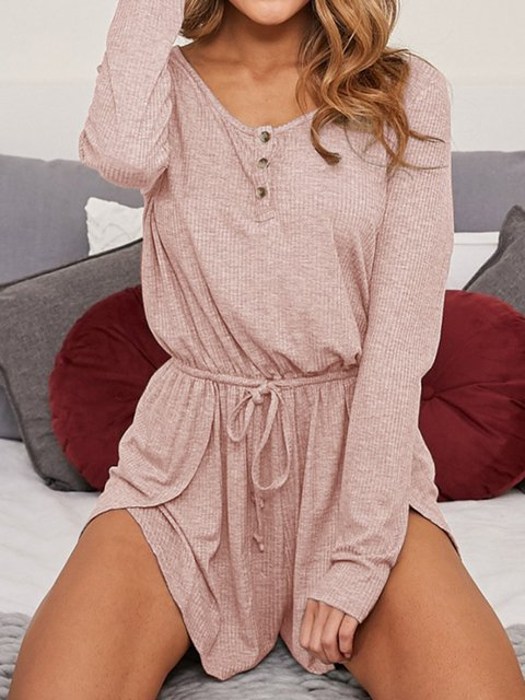 Long Sleeve Buttoned Crew Neck Casual Jumpsuits