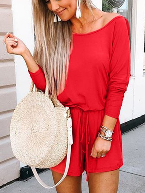 Long Sleeve Off Shoulder Cotton-Blend Casual Jumpsuits