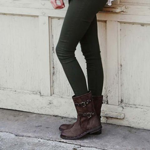 ba1075c514aa8 Justfashionnow Vintage Double Buckle Low Heel Slip-On Mid-Calf Boots