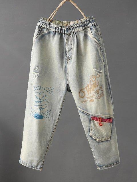 Patchwork Loose Fit Women Denim Pants With Pockets