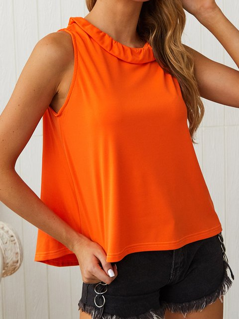Solid Sleeveless Stand Collar Shirts