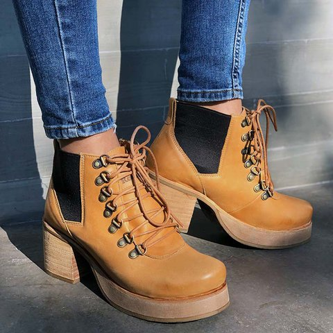 Lace-Up Chunky Heel Ankle Booties Vintage Motorcycle Boots