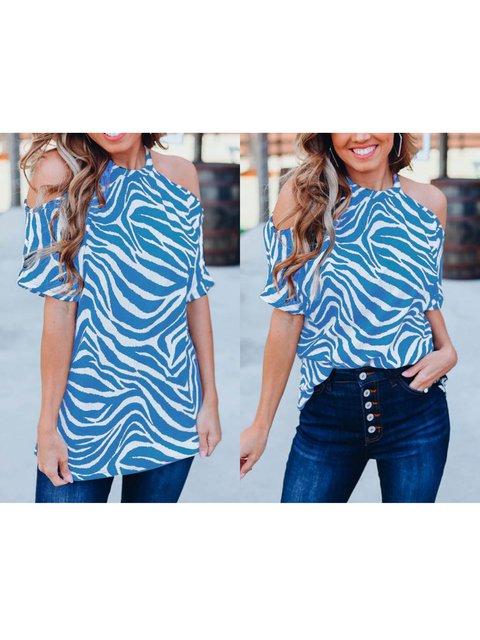 Stripes Casual Halter Short Sleeve Shirts