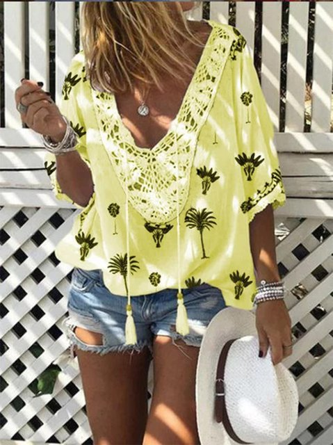 Floral Half Sleeve Women Shirts & Blouses