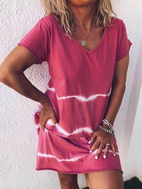 Plus Size Casual Striped V-neck Short Sleeve Mini Dress
