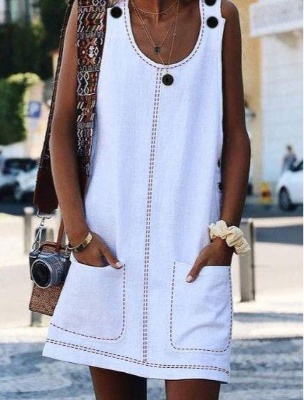 Crew Neck Women Dresses Shift Cotton-Blend Dresses