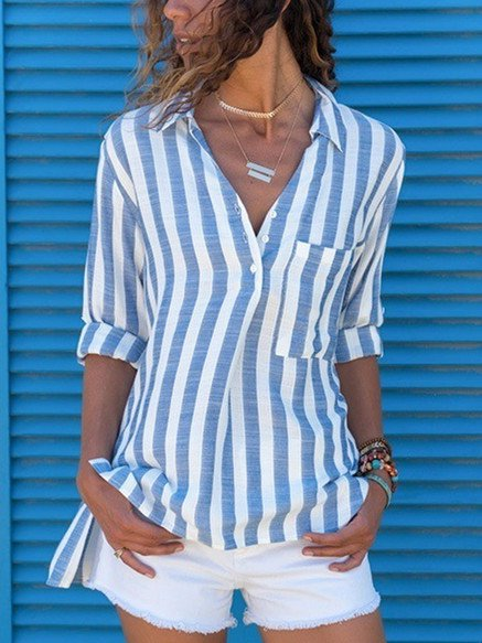 Plus Size Striped V Neck Long Sleeves Casual Shirts