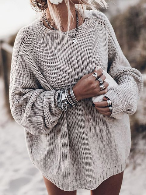 Casual Long Sleeve Round Neck Sweaters