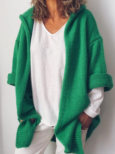 Plus Size V Neck Solid 3/4 Sleeve Outerwear