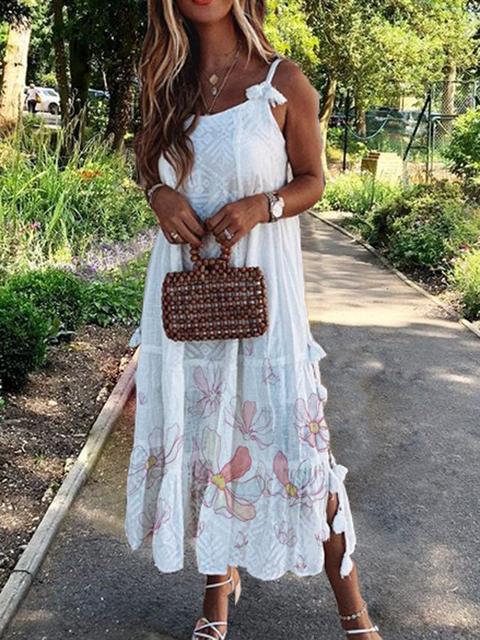 White Women Dresses Shift Daytime Linen Floral Dresses