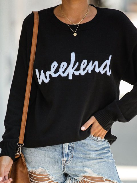 Women Letter Long Sleeves Knitted Sweaters