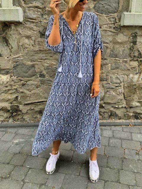 Women Caftan Convertible Sleeves Printed Dresses
