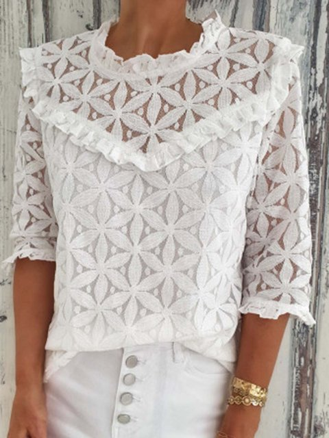 Cut out  Floral 3/4 Sleeves  Blouses Tops
