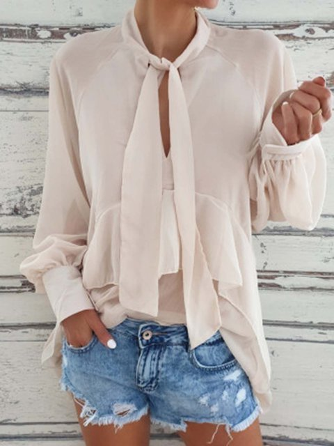 Tie Balloon Sleeve V-Neck Solid Blouses Top