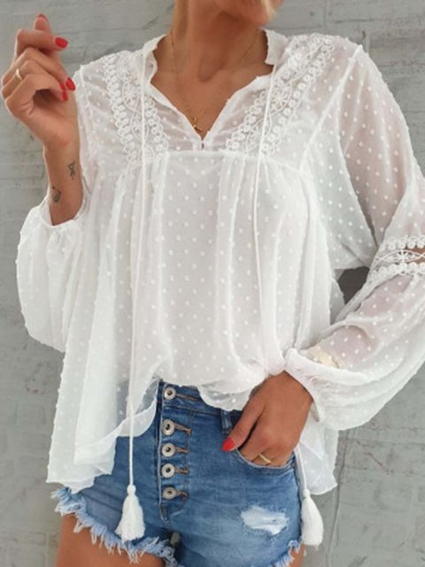 Lace Dots Balloon Sleeve Blouse Top