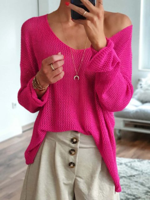 Knitted Solid Long Sleeve V-Neck Top