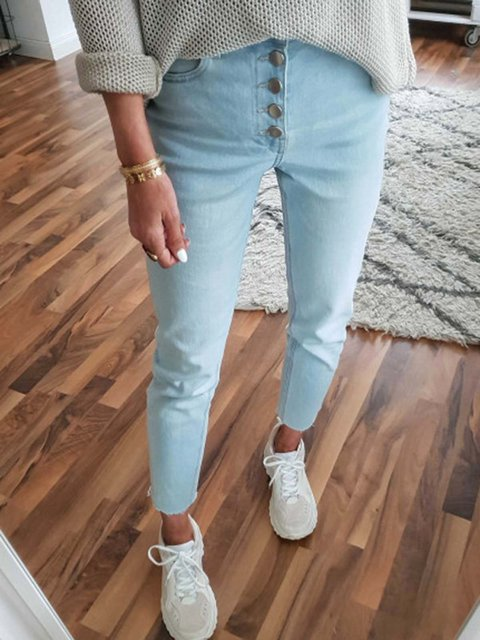 Women Button Pockets Solid Denim Pants