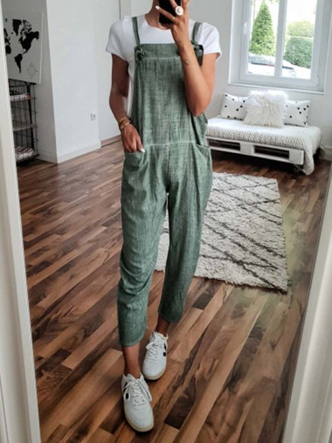 Plus Size Pockets Solid Casual Jumpsuits