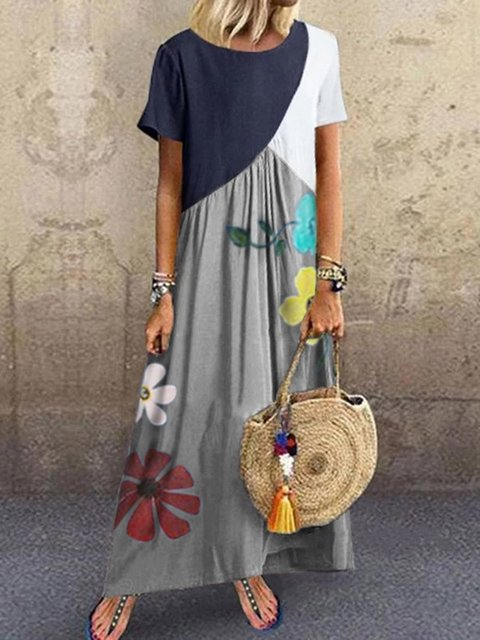 Printed Floral Crew Neck Women Dresses Going Out Cotton Paneled Dresses