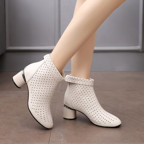 Stylish Breathable Genuine Leather Chunky Heel Mid Boots