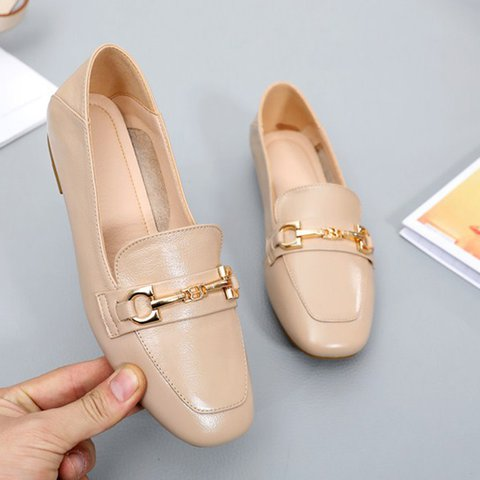 Date Genuine Leather Square Toe Slip On Loafers