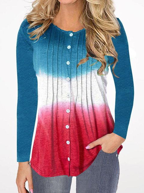 Plus Size Pleated Buttoned Long Sleeves Casual T-Shirts