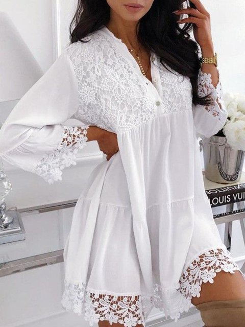 Paneled Long Sleeve Guipure Lace Dresses Going Out Lace Dresses