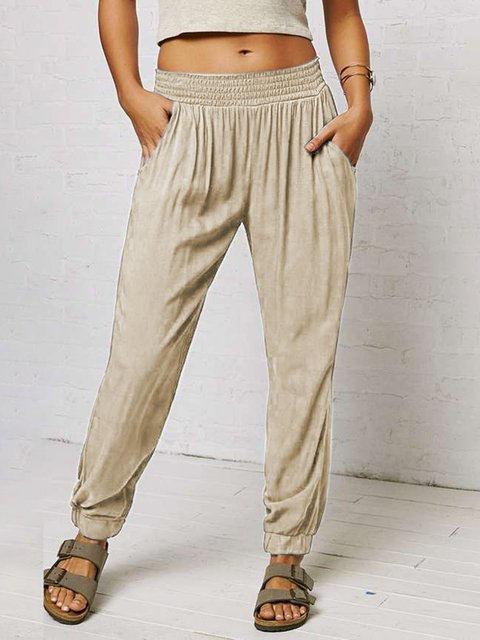 Cotton Solid Pockets Casual Pants