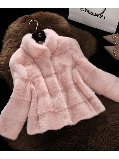 Women Faux Fur Stand Collar Sweet Coats