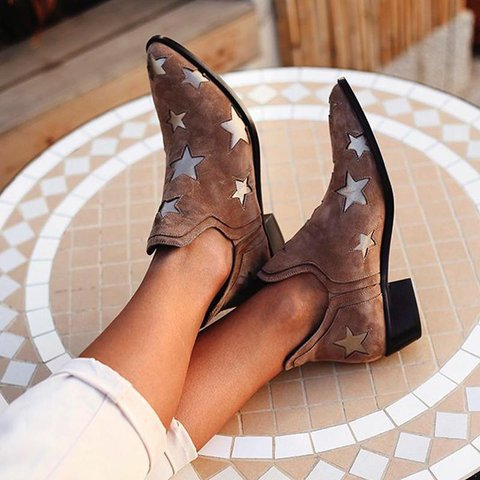 Women Fall star Slip-On Vintage Ankle Boots