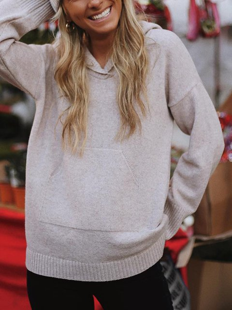 Daytime Winter Long Sleeve Wool Plain Casual Tops