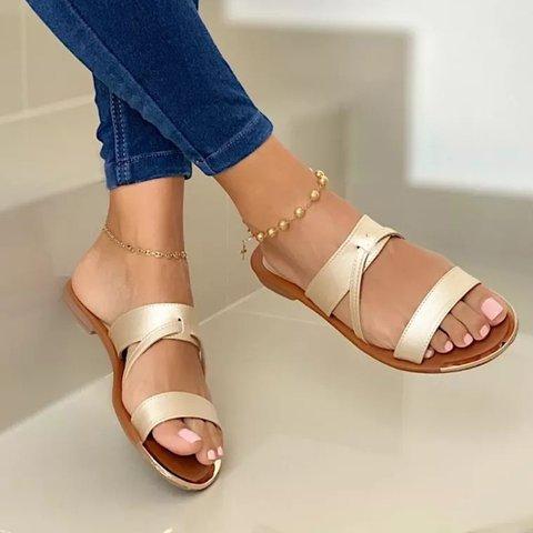 Slip-On Open Toe Flat Heel Casual Women Slide Sandals