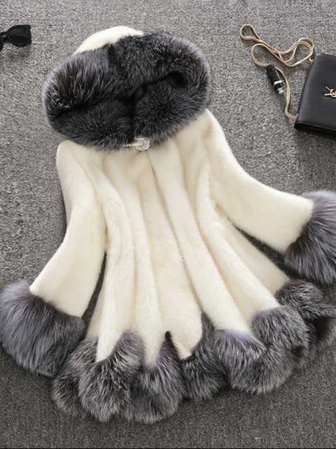 Plus Size Women Pockets Hoodie Faux fur Coats