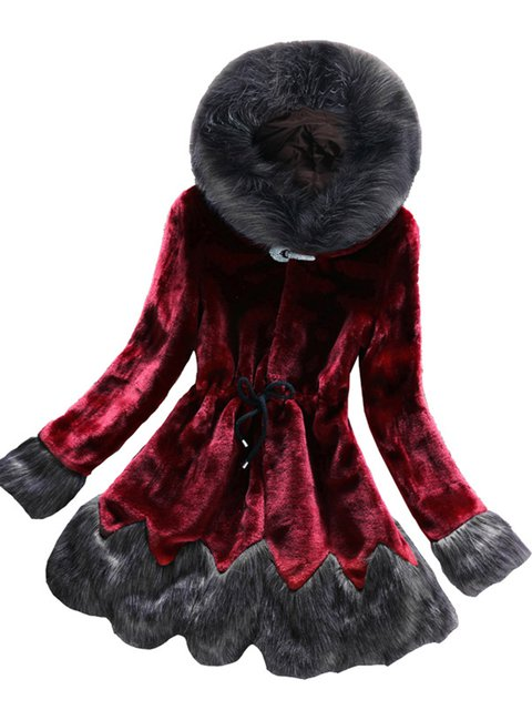 Plus Size Faux Fur Drawstring Hoodie Coats