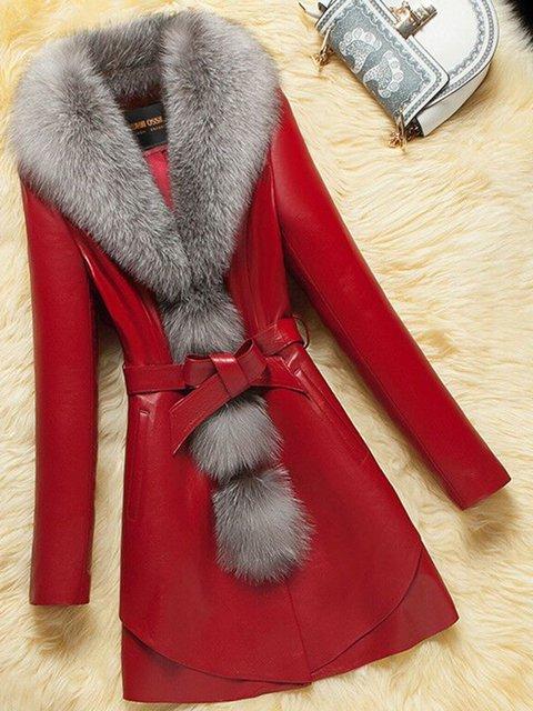 Women Faux Leather Pockets Elegant Winter Coats